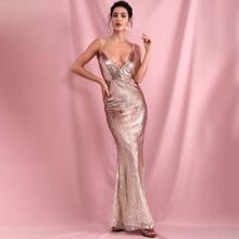 Plunging Neck Backless Sequin Prom Dress