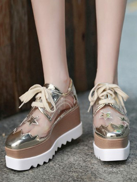 Milanoo Stylish Oxfords Round Toe PU Leather Front Lace Transparent Star Oxford Shoes-