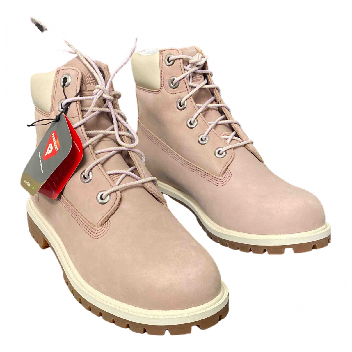 Timberland - Boots   pour femme en cuir - rose