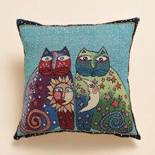 Cartoon Cat Print Cushion Cover Without Filler