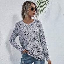 T-Shirt mit Dalmatiner Muster und rundem Kragen