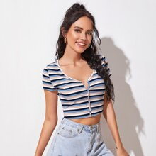 Button Up Striped Rib-knit Crop Top
