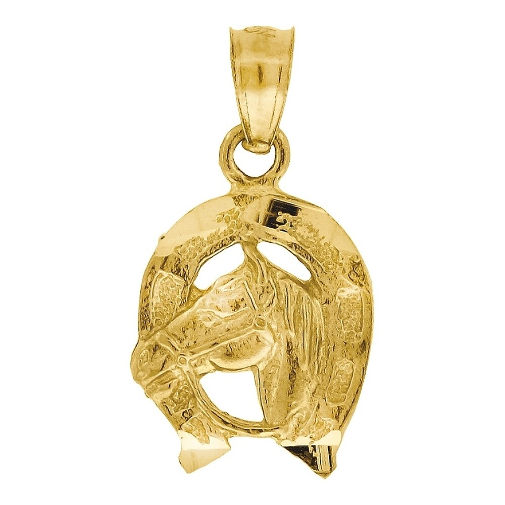 Curata 10k Yellow Gold Womens Mens Unisex Animal Horse Head Charm Pendant - Measures 19.5x10.30mm Wide