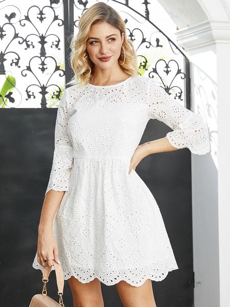 YOINS White Lace Hollow Design Round Neck Dress