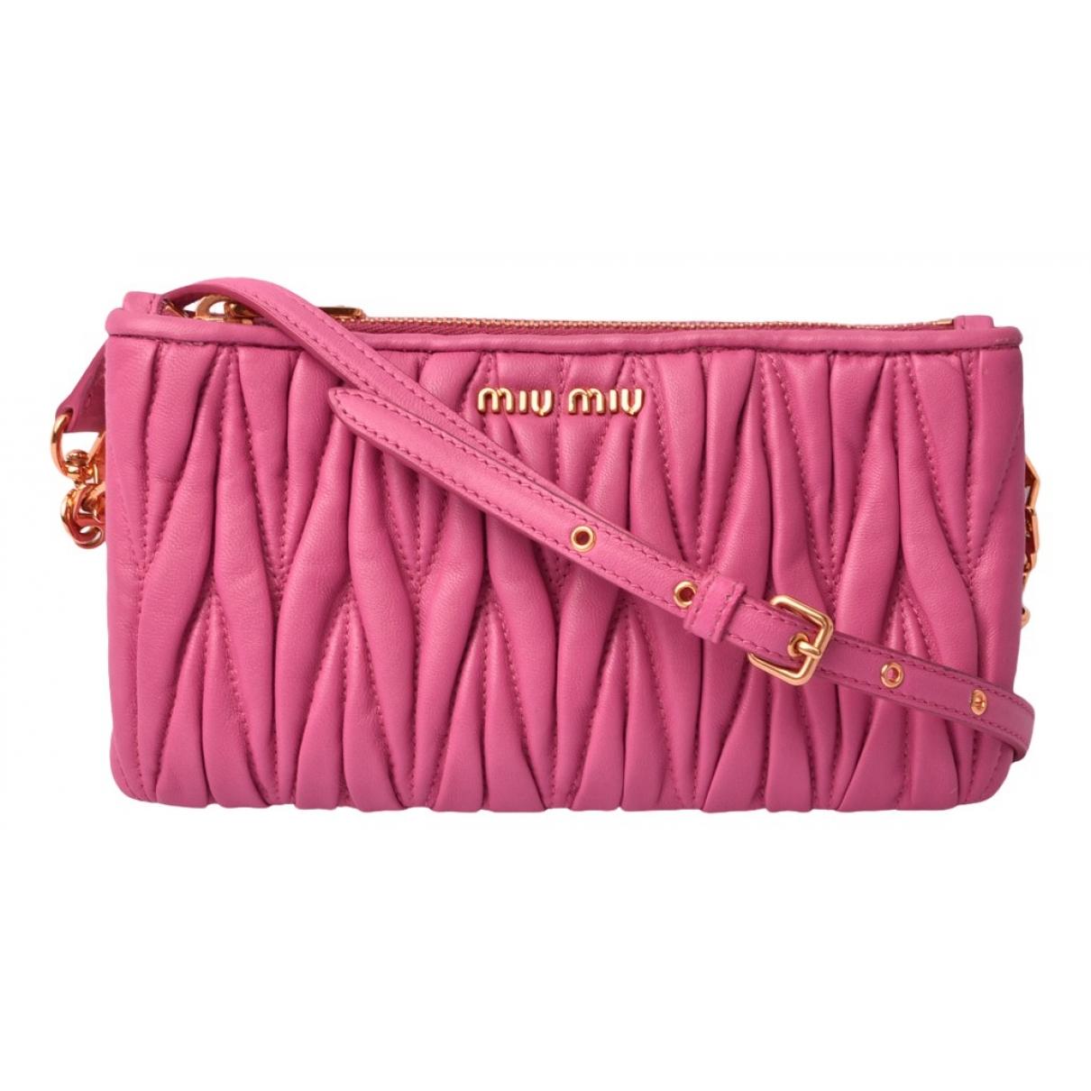Miu Miu - Pochette Matelasse pour femme en cuir - rose