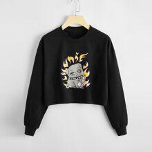 Cartoon Dog Graphic Crop Sweatshirt