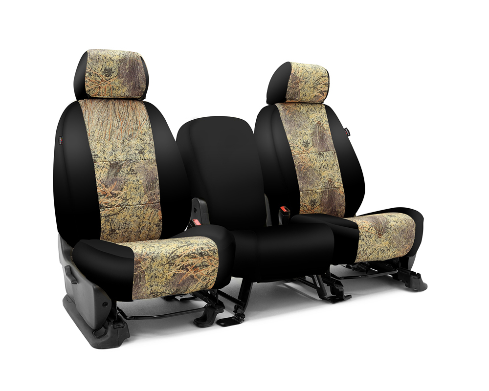 Coverking CSC2MO08GM7515 Skanda Custom Seat Covers 1 Row Neosupreme Mossy Oak Brush with Black Sides Front GMC Sierra 2500 | 3500 2001-2006