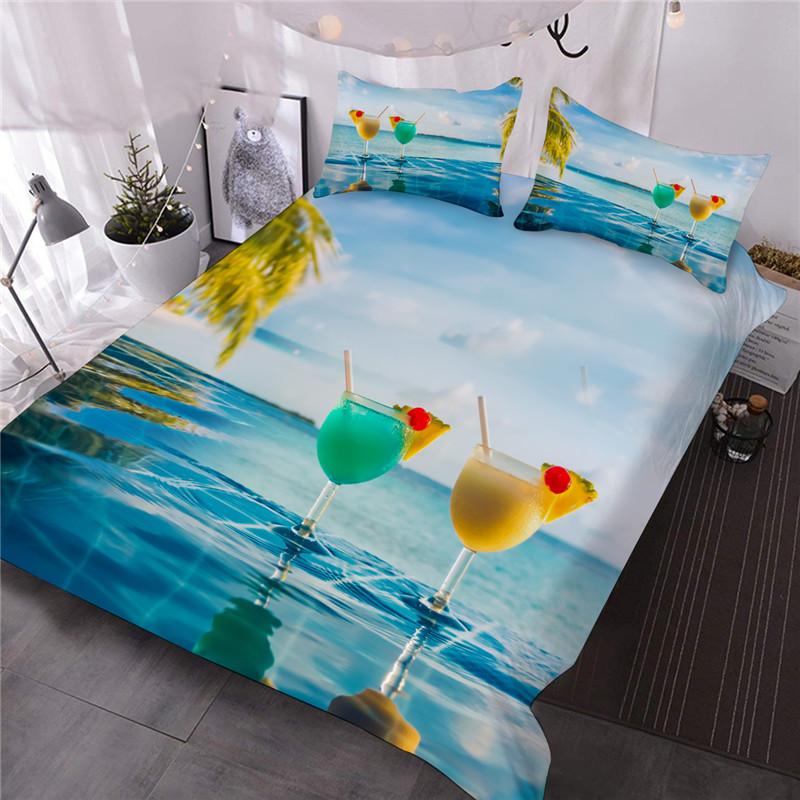 Beach Bedding Set Hawaiian Vacation Style Duvet Cover Ocean Theme Starfish Shell Decor Comforter Cover Set For Adult Kids Teen There Are Four Sizes fo