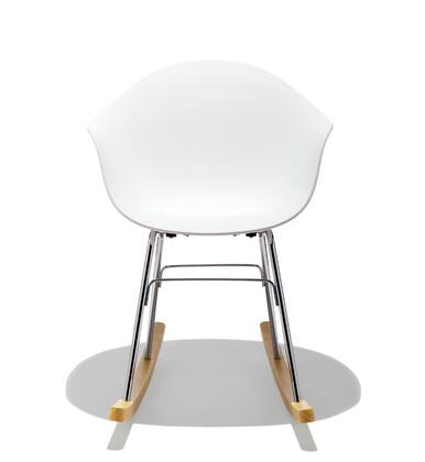 TA Collection TO-1533W-1503CN Rocking Chair /Chrome and Natural Wood Base/White