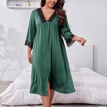 Plus Contrast Lace Slit Hem Night Dress