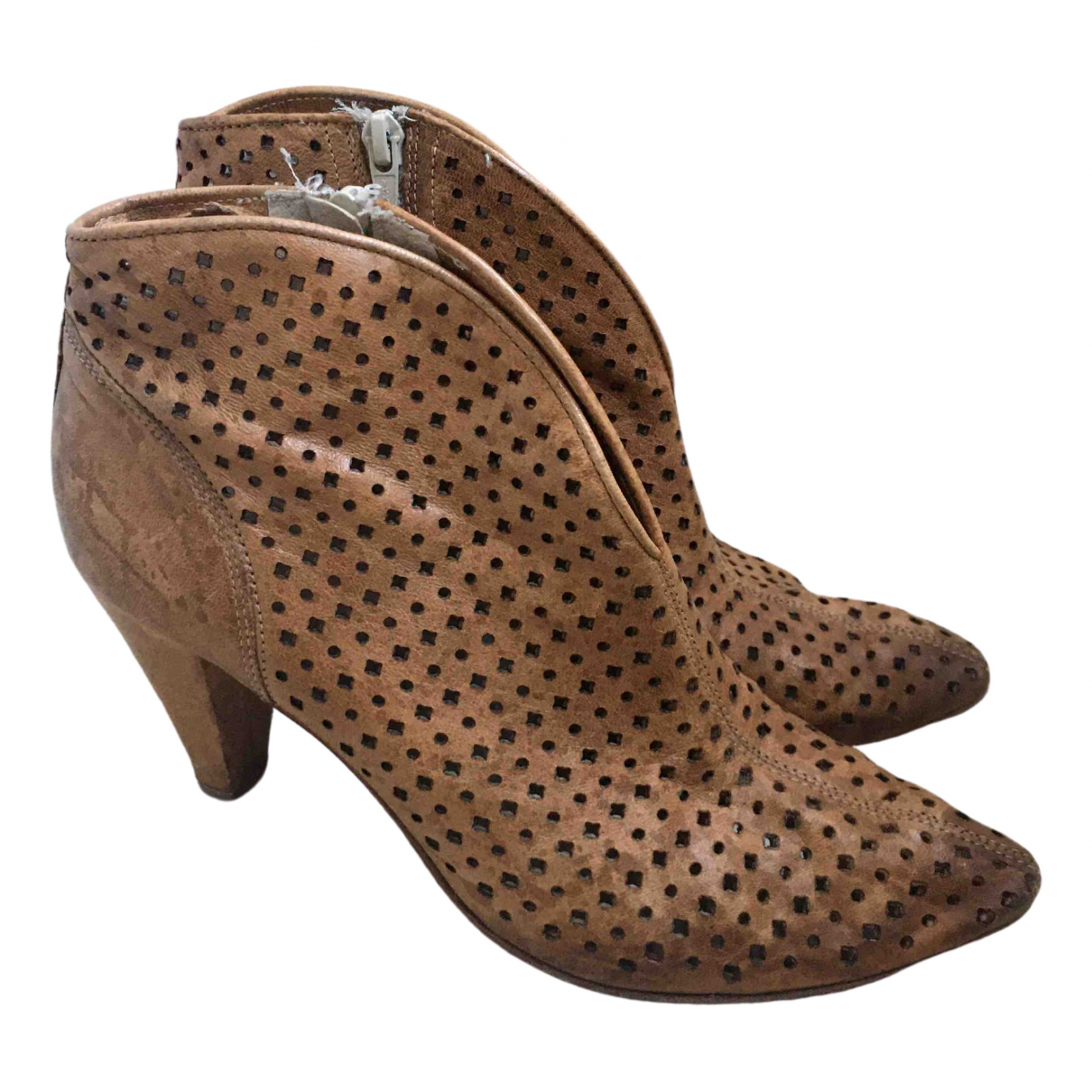 Janet & Janet \N Camel Fur Ankle boots for Women 38 EU
