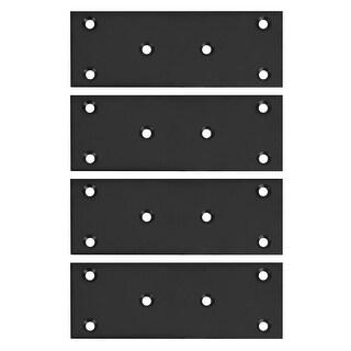 Bracket 128x48mm Stainless Steel Fastener Brace Joining Hardware (Black 4 Pcs)