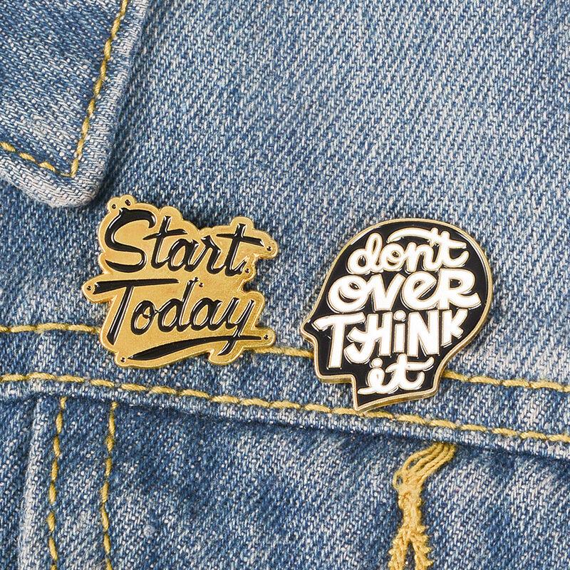 Caring Anxious Cranky People Brooch Creativity Denim Shirt Collar Lapel Pin Buckle Badge Girls Gift