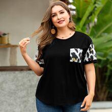 Schwarz Taschen  Leopardenmuster  Laessig T-Shirts Grosse Grossen