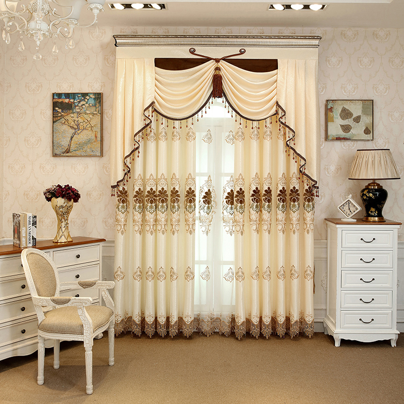 Royal Design Embroidery Beige Drapes Grommet 2 Panels Curtains for Living Room