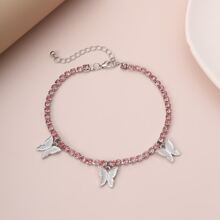 Rhinestone Butterfly Decor Anklet