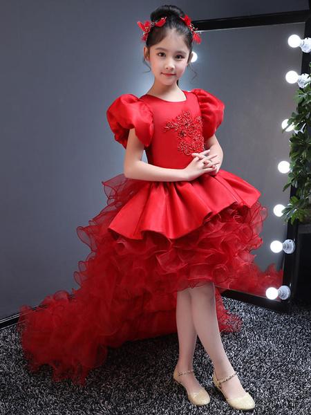 Milanoo Flower Girl Dresses Red Short Sleeve Satin Beaded High Low Tulle Ruffles Train Party Dresses For Kids