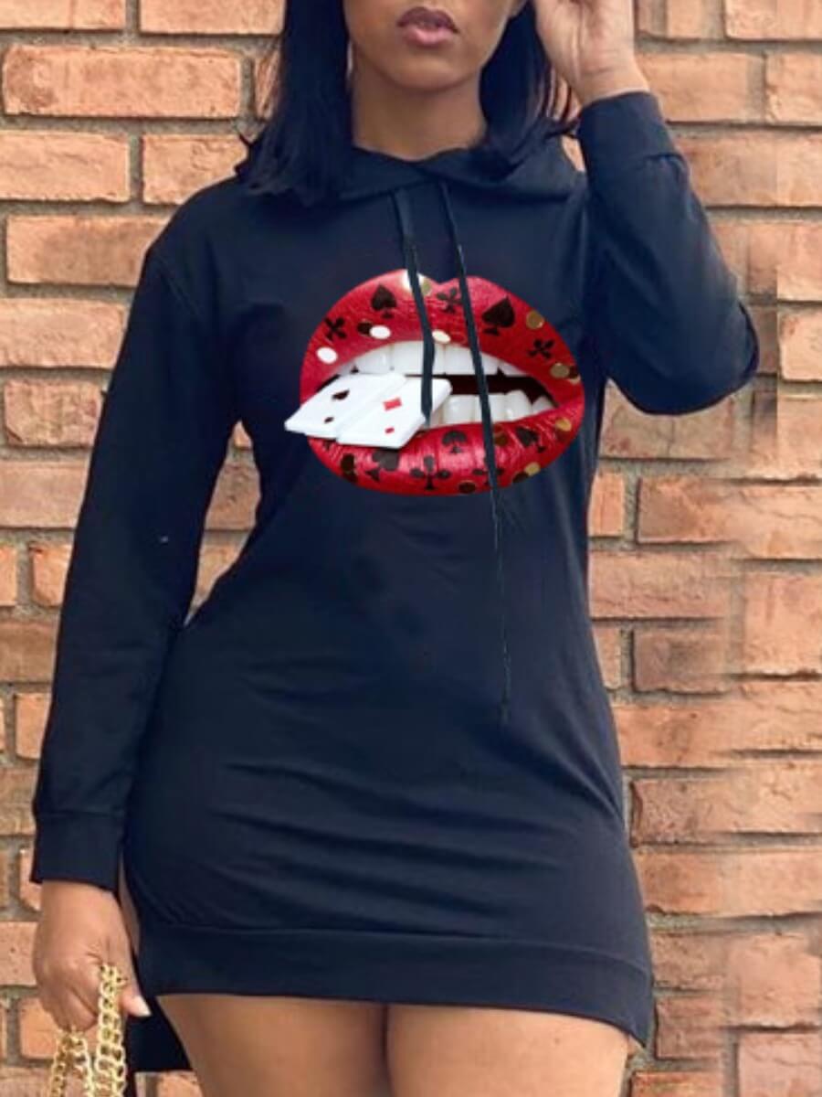 LW Lovely Street Hooded Collar Lip Print Black Mini Dress