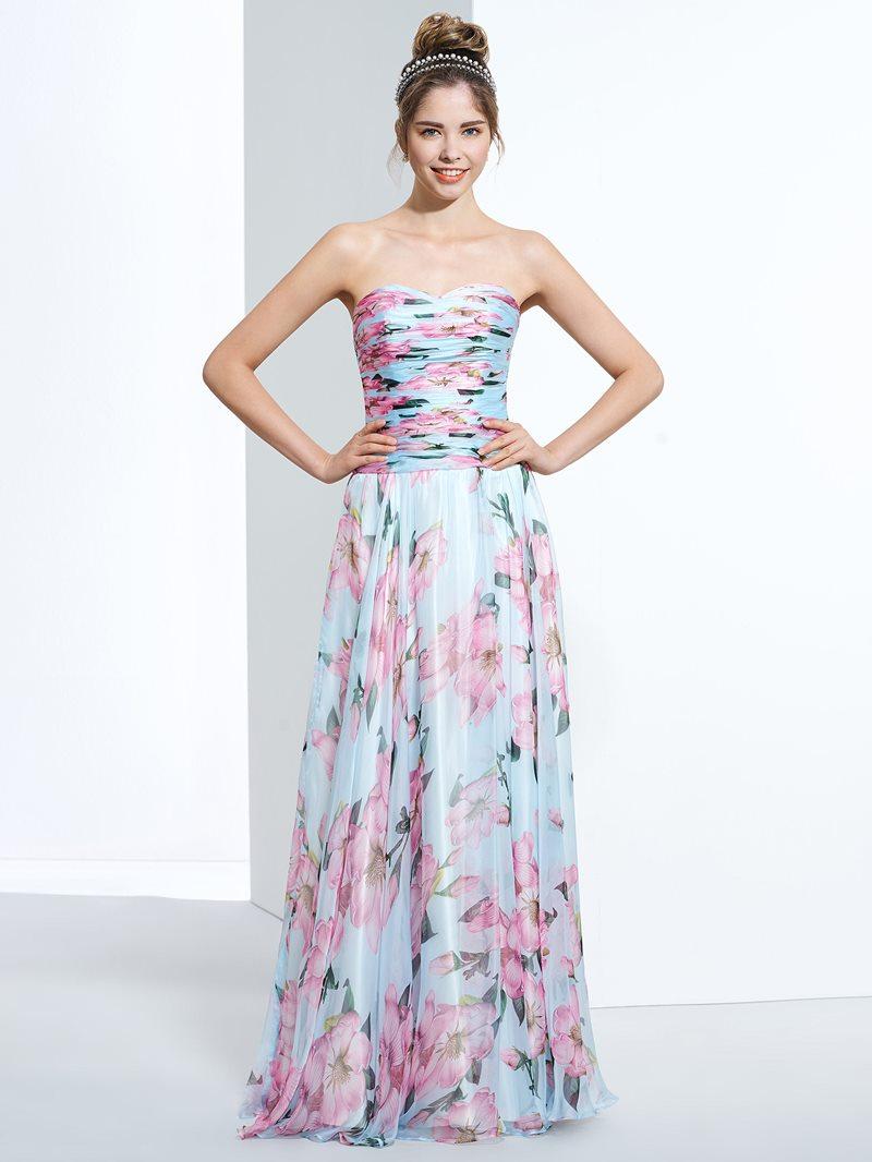 Ericdress A-Line Sweetheart Pleats Printed Floor-Length Prom Dress
