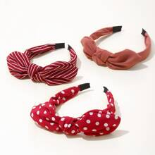 3pcs Polka Dot Pattern Hair Hoop