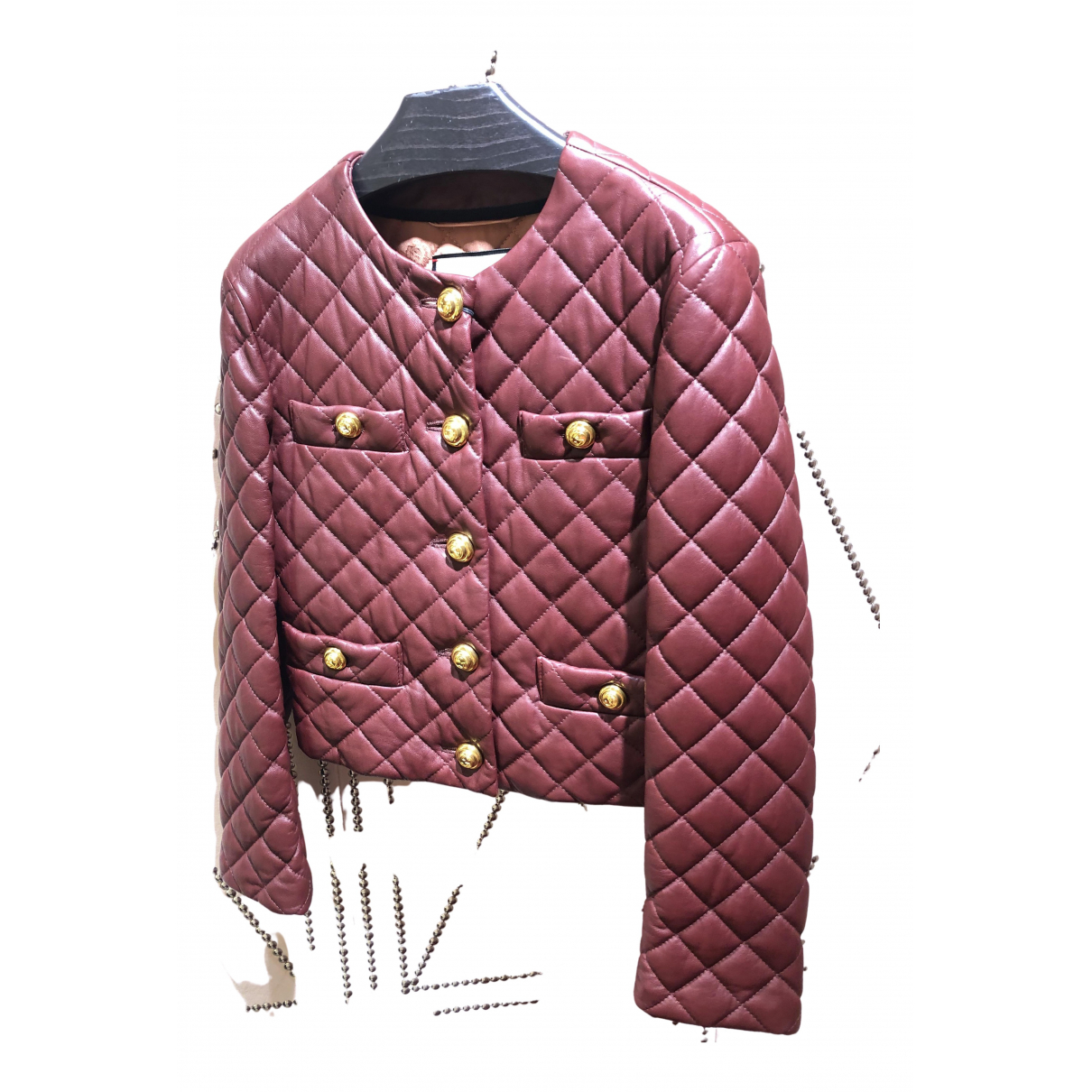 Gucci N Burgundy Leather jacket for Women 38 IT