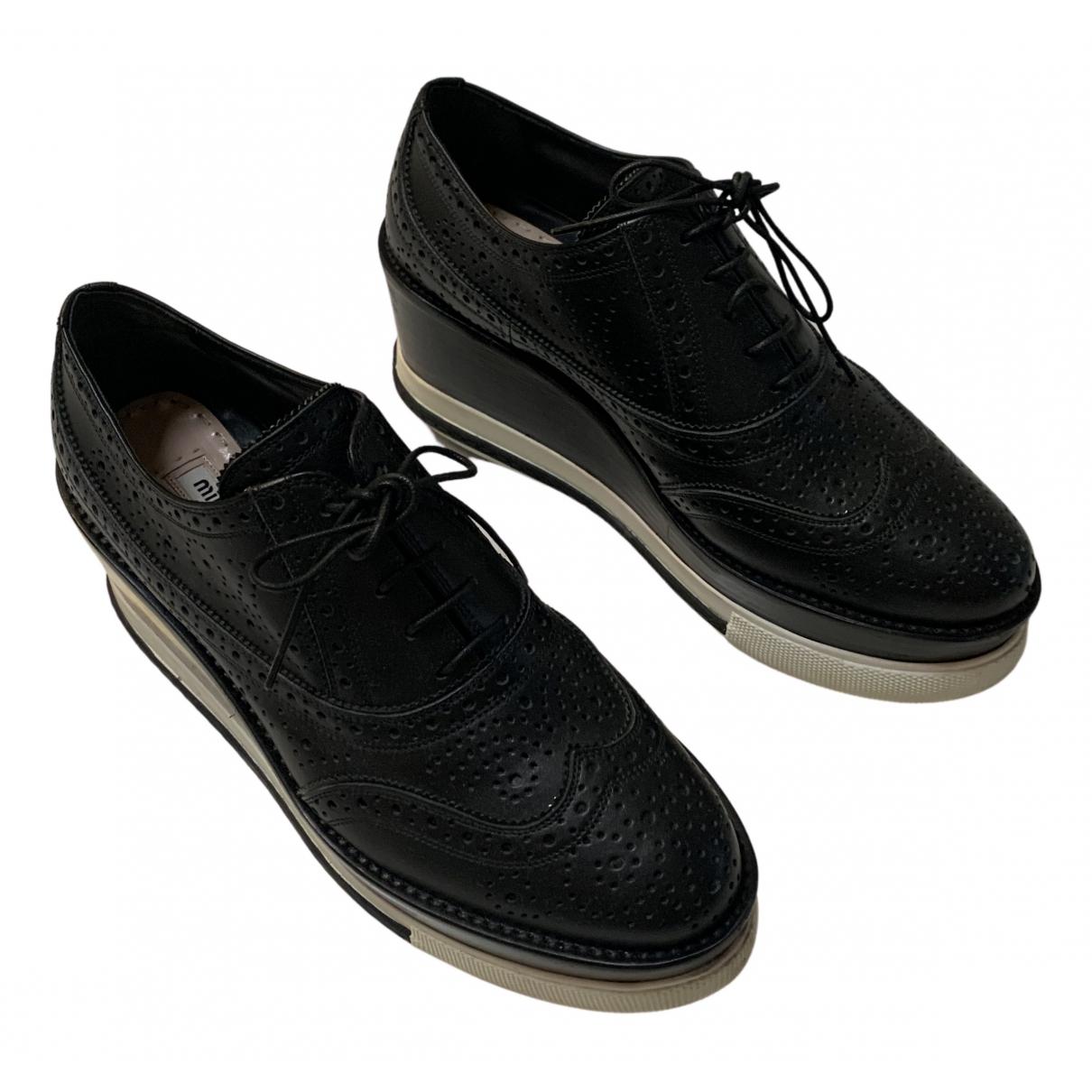 Miu Miu - Derbies   pour femme en cuir - noir