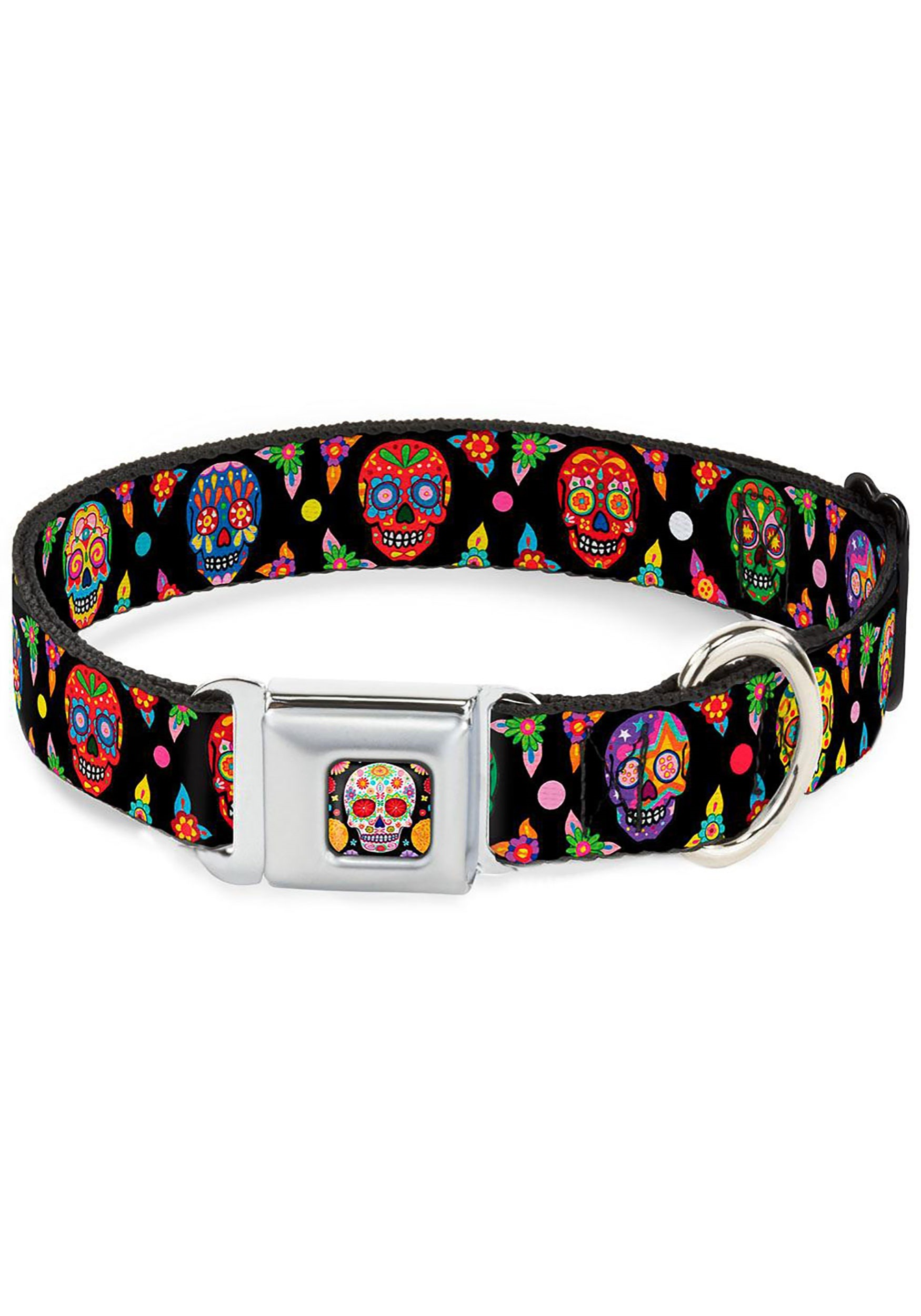 Multi-Color Sugar Skull Seatbelt Buckle Dog Collar- 1
