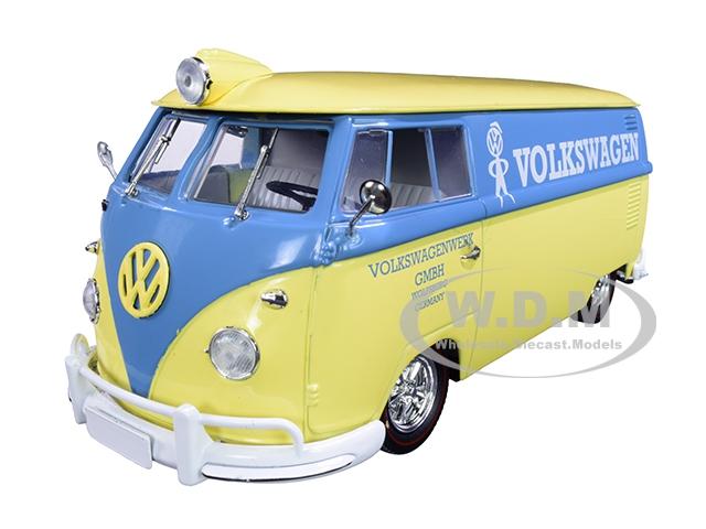 1960 Volkswagen Delivery Van Yukon Yellow Dove with Blue Stripe