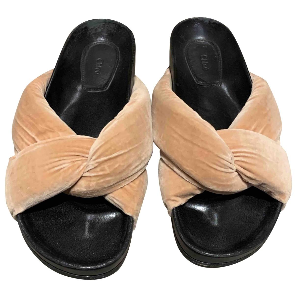 Chloé \N Pink Velvet Sandals for Women 38 EU