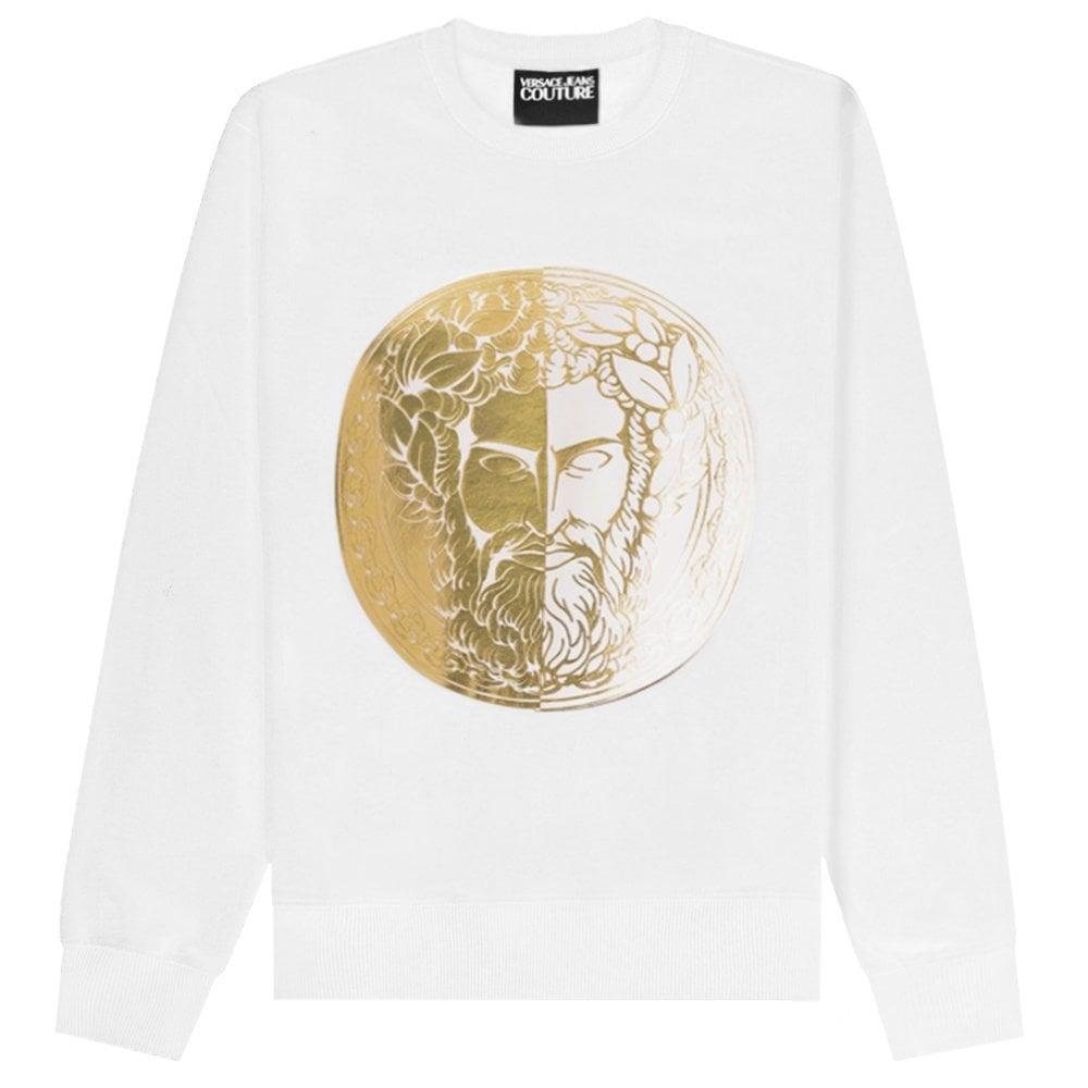 Versace Jeans Couture Circle Gold Medusa Logo Sweatshirt Colour: WHITE, Size: SMALL