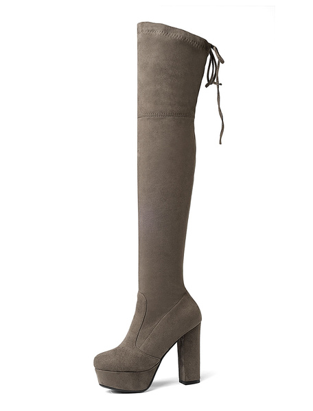 Milanoo Platform Thigh High Boots Womens Elastic Fabric Lace Up Almond Toe Chunky Heel Over The Knee Boots
