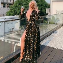 vestido con estampado de pluma dorada con abertura M con cinturon de cuello profundo