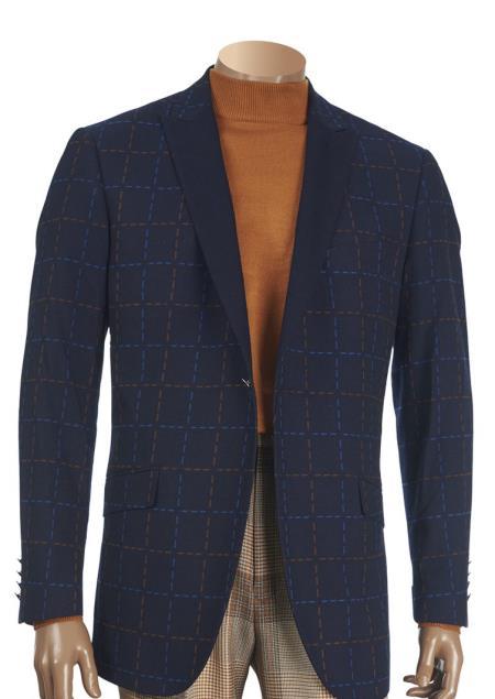 Men's Navy Stitch Pattern 1 Button Contrast Peak Lapel Jacquard Blazer