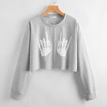 Skeleton Hand Print Crop Sweatshirt