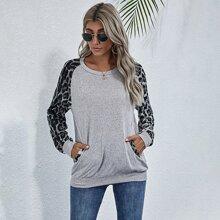 Contrast Leopard Raglan Sleeve Sweatshirt