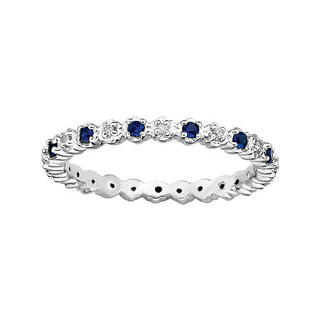Personally Stackable Lab-Created Sapphire & Diamond-Accent Eternity Ring, 7 , No Color Family