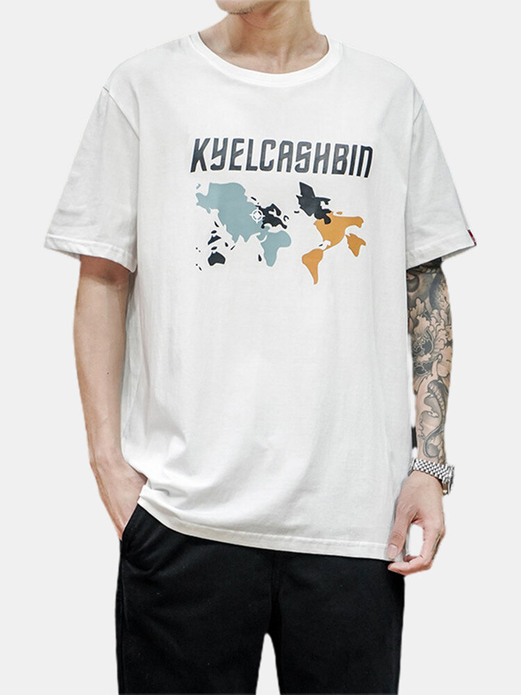 Mens Printed Cotton Breathable Round Neck Casual Short Sleeve T-shirts