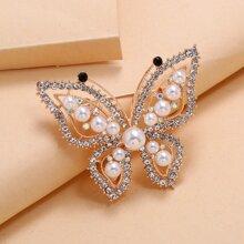 Faux Pearl Butterfly Design Brooch