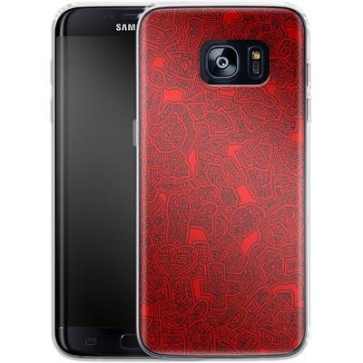 Samsung Galaxy S7 Edge Silikon Handyhuelle - Red Black von Mattartiste