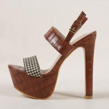 Houndstooth Platform Slingback Heeled Sandals