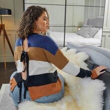 Pullover mit Farbblock, Knoten hinten und sehr tief angesetzter Schulterpartie