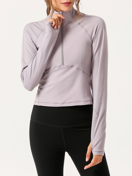 Milanoo Women Top Highneck Long Sleeve Open Back Sexy Yoga Top