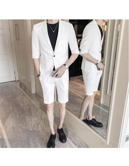 Men's Summer Suits With Shorts Pants Set (Sport Coat Looking) White