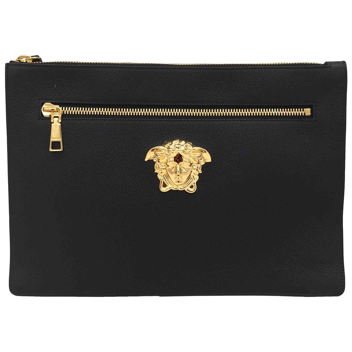 Versace - Pochette   pour femme en cuir - noir