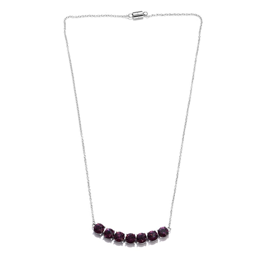 Pure White Made with Swarovski Amethyst Necklace Size 18 In Ct 8.9 - Size 18'' (Size 18'')