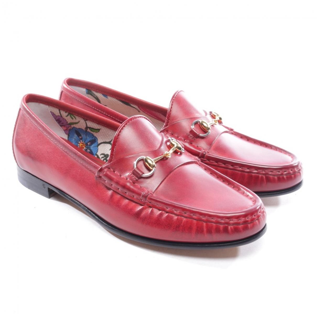 Gucci - Mocassins   pour femme en cuir - rouge