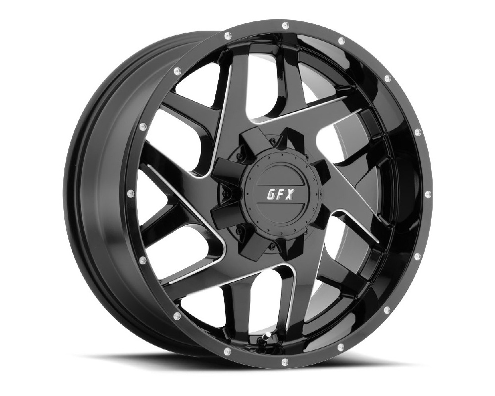 G-FX Wheels TM2 890-8165-12 GBM TR-Mesh2 Gloss Black Milled Wheel 18x9 8x165.1 12