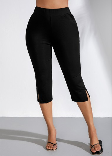 Side Slit High Waist Black Cropped Pants - M
