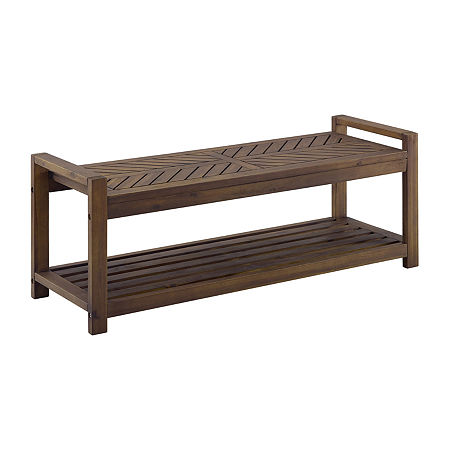 Walker Edison Patio Bench, One Size , Brown