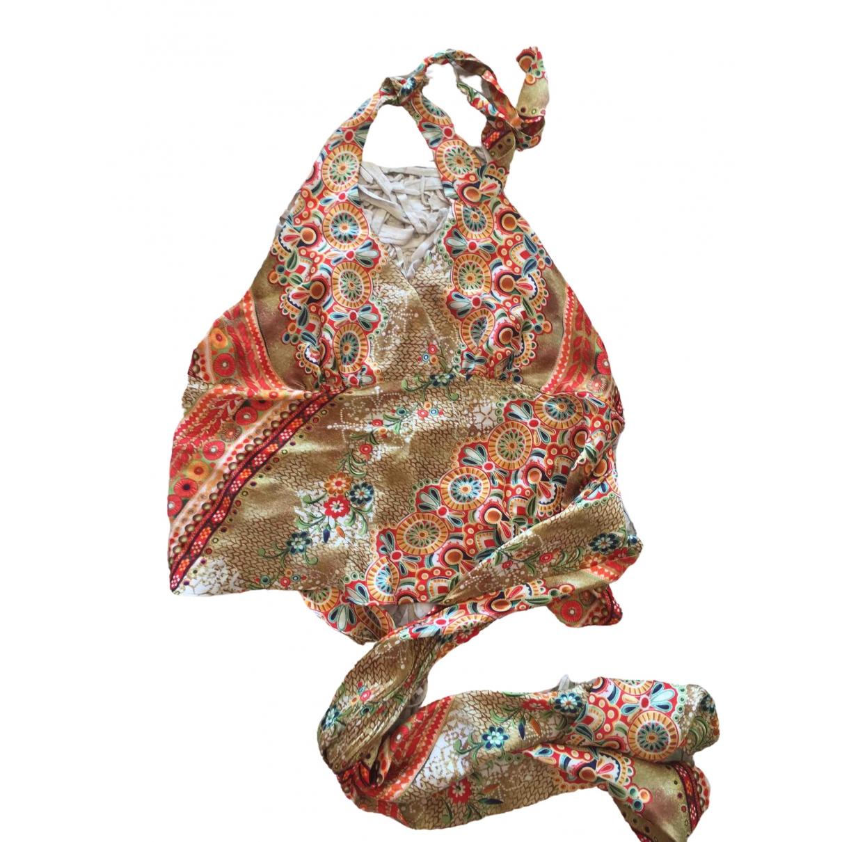 Cache - Top   pour femme en soie - multicolore